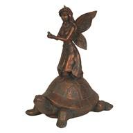 Bronze Fairy Figurine on Tortoise 24cm