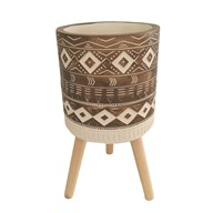 Aztec Design Planter Brown 29x31cm