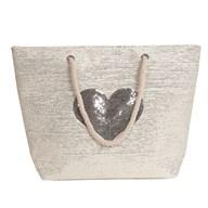 Heart Beach Bag Silver 38x40cm