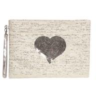 Heart Cosmetic Bag Silver 20x28cm
