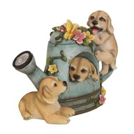 Solar Powered Puppies in Watering Can 25cm