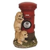Solar Powered Puppies & Post Box 26cm