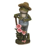Solar Powered Farmer Frog 41cm
