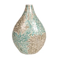 Blue & Grey Capiz Vase 41cm