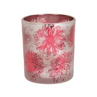 Pink Floral Glass Tealight Holder 10cm