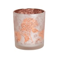 Coral Floral Glass Tealight Holder 10cm