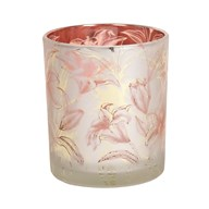 Rose Gold Floral Glass Tealight Holder 10cm