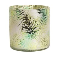 Green Leaf Glass Candle Holder 15cm