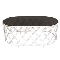 Oval White Table with Black Glass 100x41cm