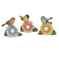 Solar Powered Birds On Flowers 3 Assorted 14cm