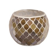 Coral Mosaic Tealight Holder 10.5cm