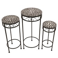 Mosaic Silver Tables Set of 3 65/56/48cm