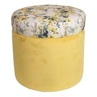 Yellow Floral Pouffe 38cm