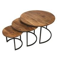 Set of 3 Mango Wood Tables 67/50/35cm