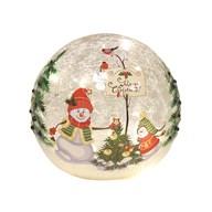 LED Crackle Ball Snowman 14cm