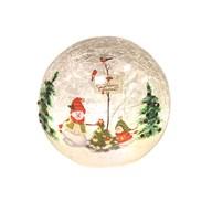 LED Crackle Ball Snowman 11cm