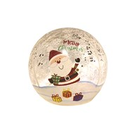 LED Crackle Ball Santa 11cm
