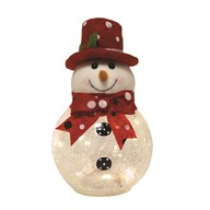 LED Crackle Snowman 23cm