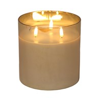 LED 3 Wick Candle 15x15cm Gold