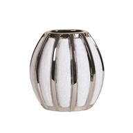 Silver&White Striped Vase 19cm