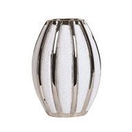 Silver&White Striped Vase 28cm