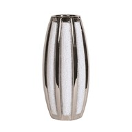 Silver&White Striped Vase 25cm
