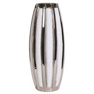 Silver&White Striped Vase 32cm