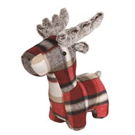 Checked Reindeer Doorstop 34cm