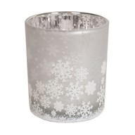 White Snowflake Tealight Holder 12.5cm
