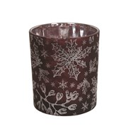 Red Snowflake Tealight Holder 10cm