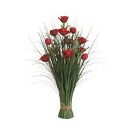 Grass Floral Bundle Red Rose 70cm