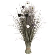 Grass Floral Bundle Black and White Rose 100cm