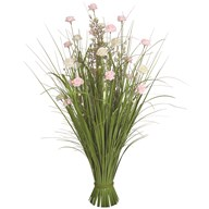 Grass Floral Bundle White & Pink Roses 100cm