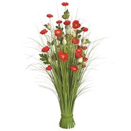 Grass Floral Bundle Red Poppy 100cm