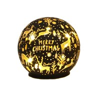 LED Xmas Ball Black 9.5cm