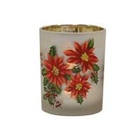Poinsettia Tealight Hld 12.5cm