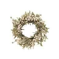 Floral Wreath Green Foliage, White Berries 52cm