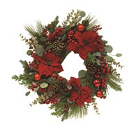 Floral Wreath Green Foliage, Red Poinsettia and Berries 70cm