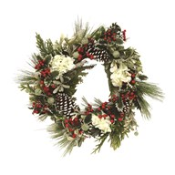 Floral Wreath Green Foliage, White Flowers, Red Berries 67cm