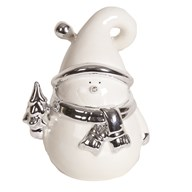 White and Silver Ceramic Snowman 14.5cm