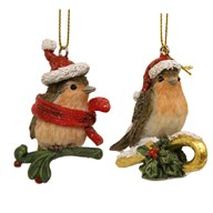 Christmas Robin Hanging Decoration 2 Assorted 6cm