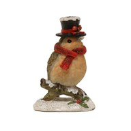 Christmas Robin Decoration with Hat 7.5cm