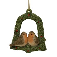 Christmas Robins Green Bell Hanging Decoration 9cm