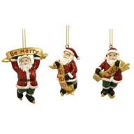 Santa Hanging Decs 3 Asst