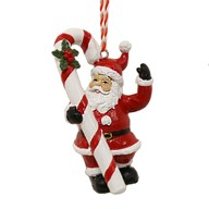 Santa with Candy Cane Hanging Decoration 9cm