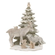 Reindeer and Christmas Tree Figurine 21.5cm