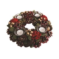 Red Festive Decoration 4 Tealight Holder 30cm