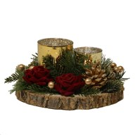 Red Floral Double Tealight Holder 21cm