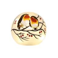 LED Robin Glass Ball 13cm