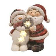 LED Santa and Snowman 35.5cm
